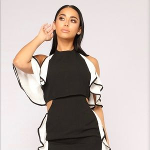 Fashion Nova black and white dress